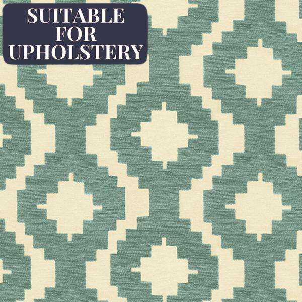 McAlister Textiles Arizona Geometric Duck Egg Blue Fabric Fabrics