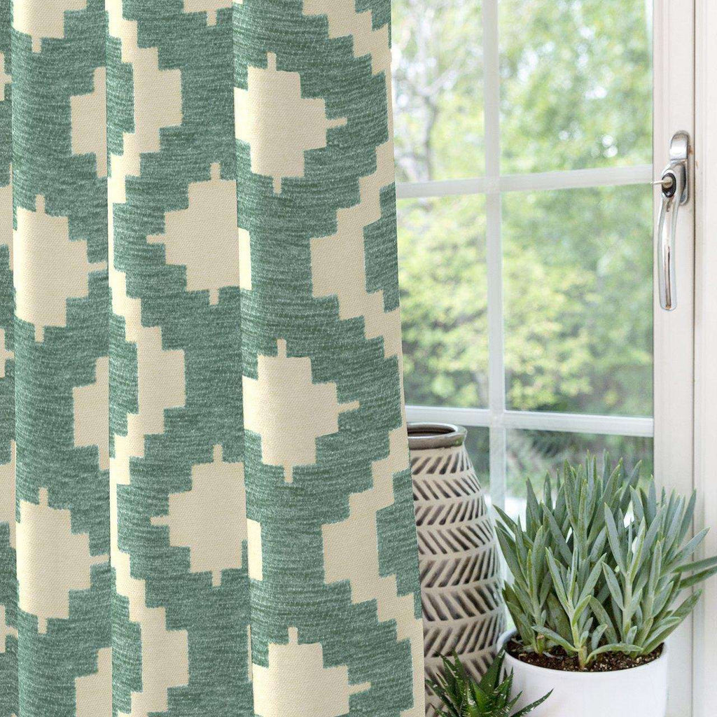"McAlister Textiles Arizona Geometric Duck Egg Blue Curtains Tailored Curtains 116cm(w) x 182cm(d) (46"" x 72"")"