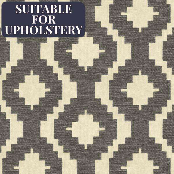 McAlister Textiles Arizona Geometric Charcoal Grey Fabric Fabrics