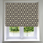 Load image into Gallery viewer, McAlister Textiles Arizona Geometric Charcoal Grey Roman Blind Roman Blinds Standard Lining 130cm x 200cm Grey