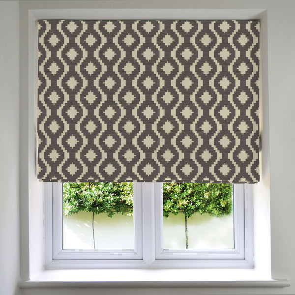 McAlister Textiles Arizona Geometric Charcoal Grey Roman Blind Roman Blinds
