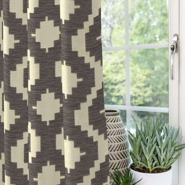 McAlister Textiles Arizona Geometric Charcoal Grey Curtains Tailored Curtains