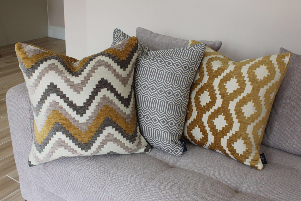 McAlister Textiles Navajo Yellow + Grey Striped Cushion Cushions and Covers