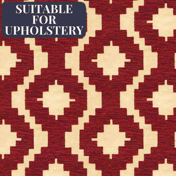 McAlister Textiles Arizona Geometric Red Fabric Fabrics