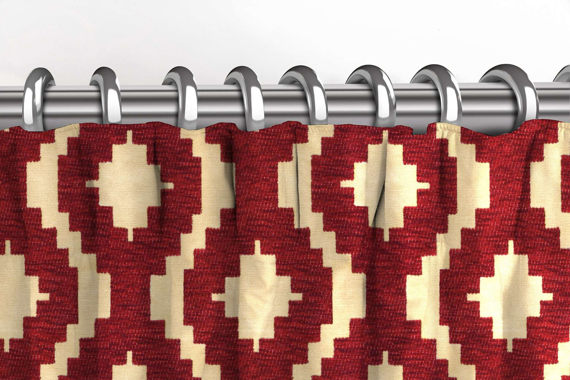 McAlister Textiles Arizona Geometric Red Curtains Tailored Curtains