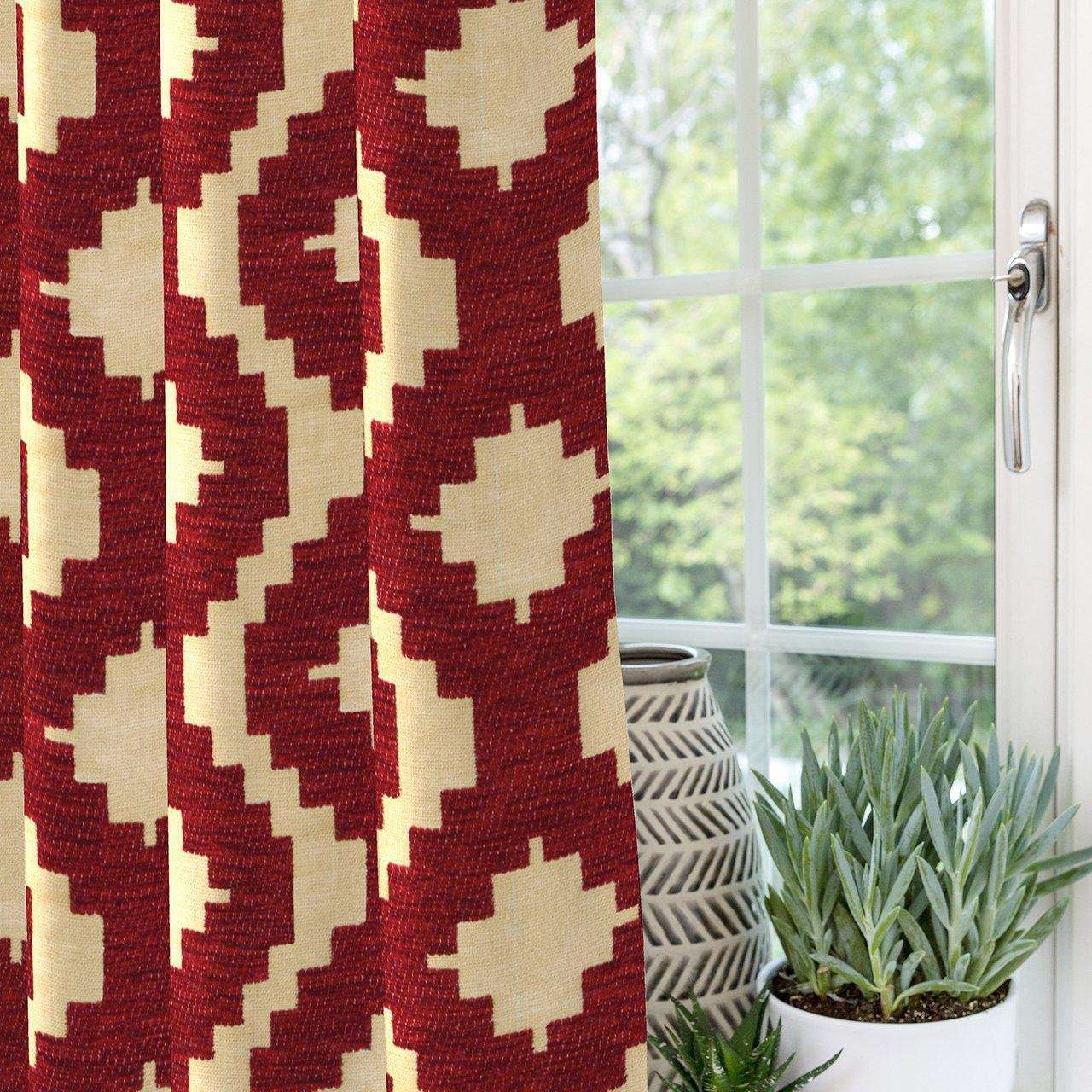 "McAlister Textiles Arizona Geometric Red Curtains Tailored Curtains 116cm(w) x 182cm(d) (46"" x 72"")"