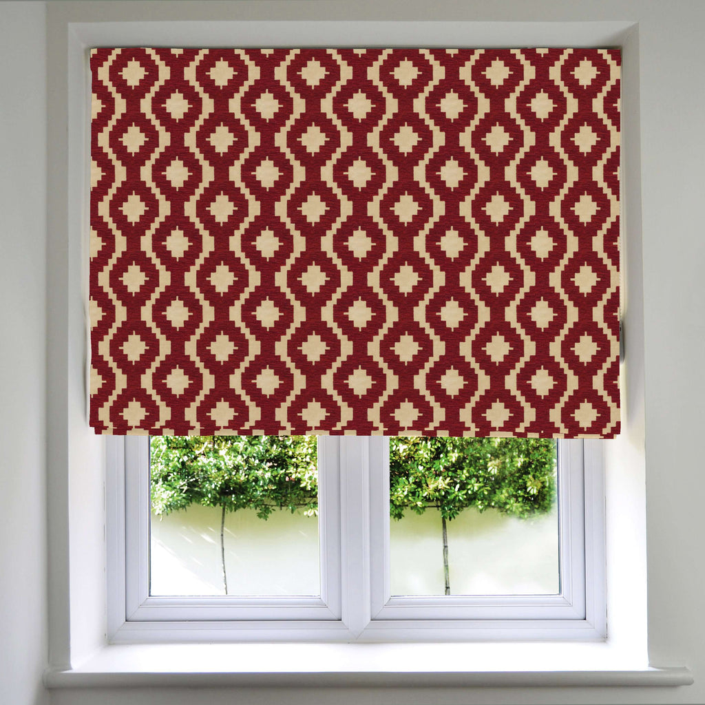 McAlister Textiles Arizona Geometric Red Roman Blind Roman Blinds Standard Lining 130cm x 200cm Red