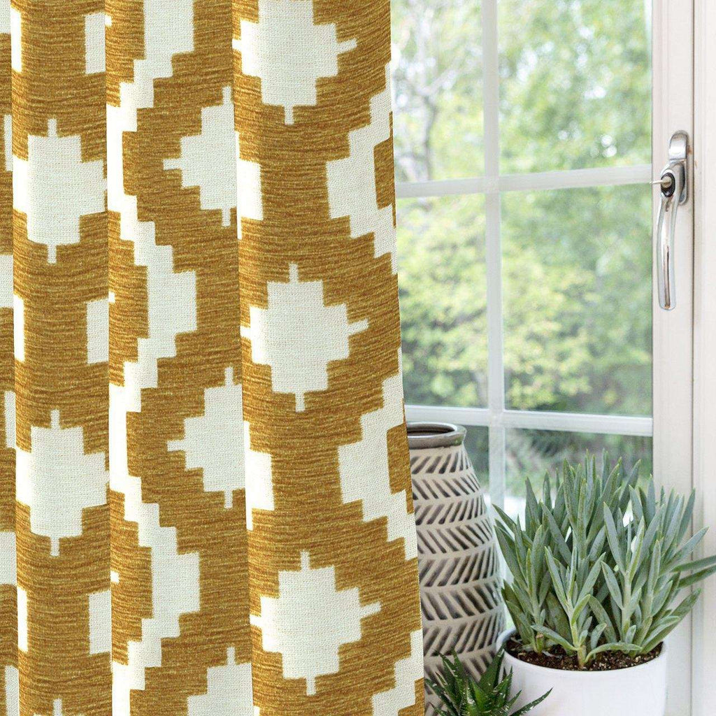 "McAlister Textiles Arizona Geometric Yellow Curtains Tailored Curtains 116cm(w) x 182cm(d) (46"" x 72"")"