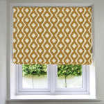 Load image into Gallery viewer, McAlister Textiles Arizona Geometric Yellow Roman Blind Roman Blinds Standard Lining 130cm x 200cm Yellow