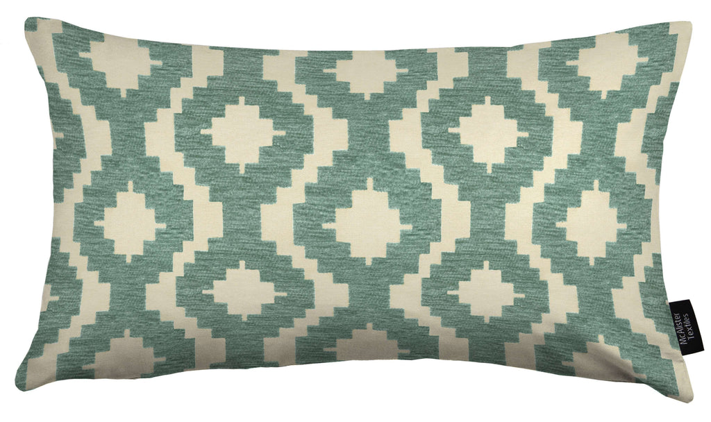 McAlister Textiles Arizona Geometric Duck Egg Blue Cushion Cushions and Covers Cover Only 50cm x 30cm