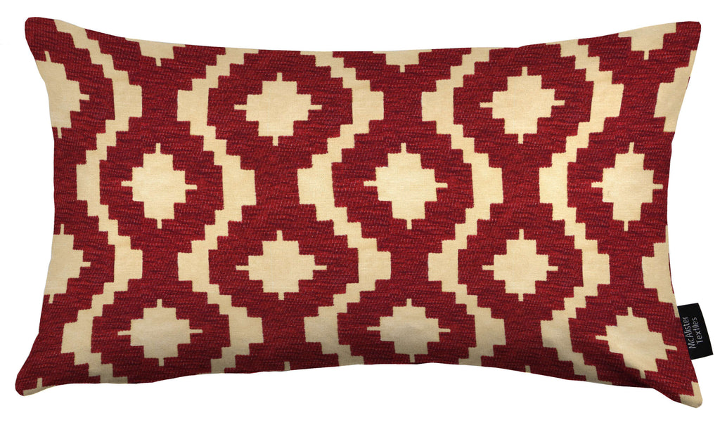 McAlister Textiles Arizona Geometric Red Cushion Cushions and Covers Cover Only 50cm x 30cm
