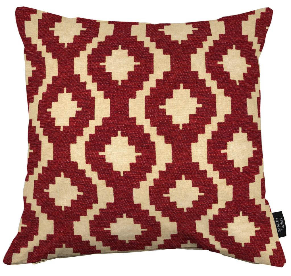 McAlister Textiles Arizona Geometric Red Cushion Cushions and Covers Cover Only 43cm x 43cm
