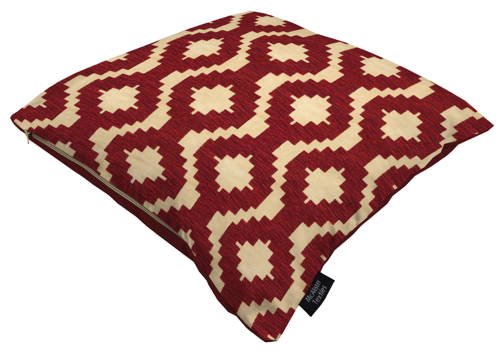 McAlister Textiles Arizona Geometric Red Cushion Cushions and Covers