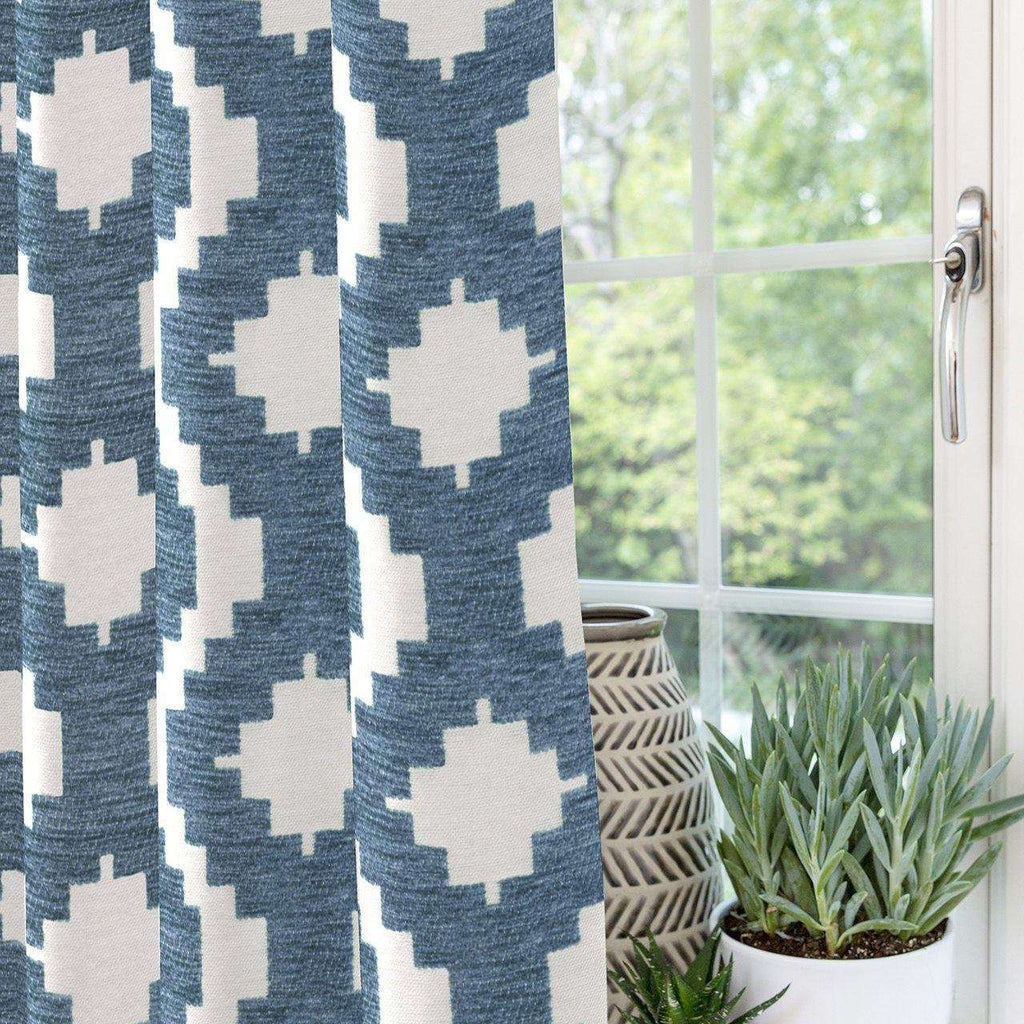 "McAlister Textiles Arizona Geometric Wedgewood Blue Curtains Tailored Curtains 116cm(w) x 182cm(d) (46"" x 72"")"