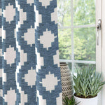 "Charger l'image dans la galerie, McAlister Textiles Arizona Geometric Wedgewood Blue Curtains Tailored Curtains 116cm(w) x 182cm(d) (46"" x 72"")"