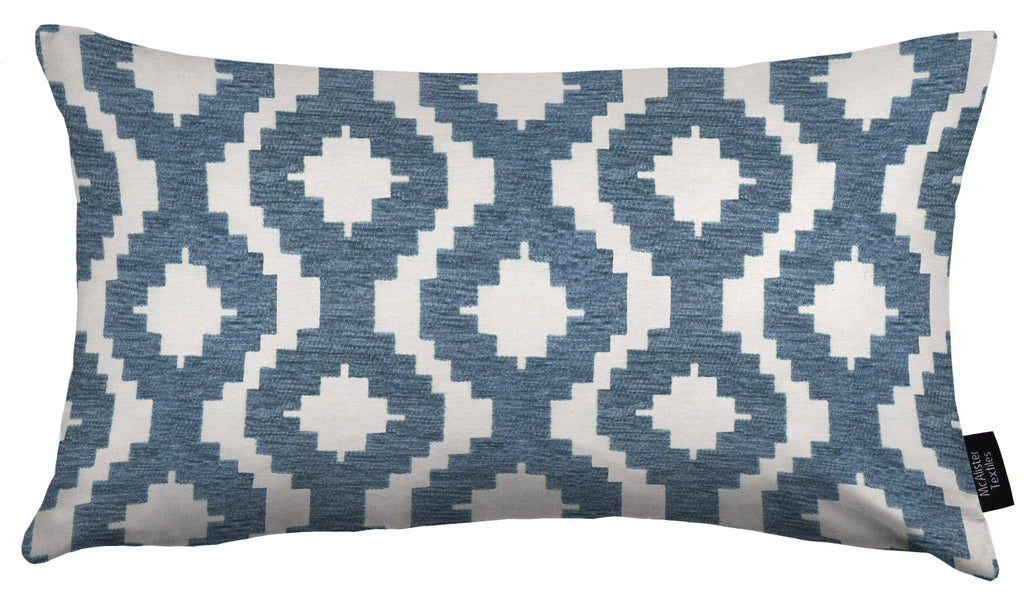 McAlister Textiles Arizona Geometric Wedgewood Blue Pillow Pillow Cover Only 50cm x 30cm