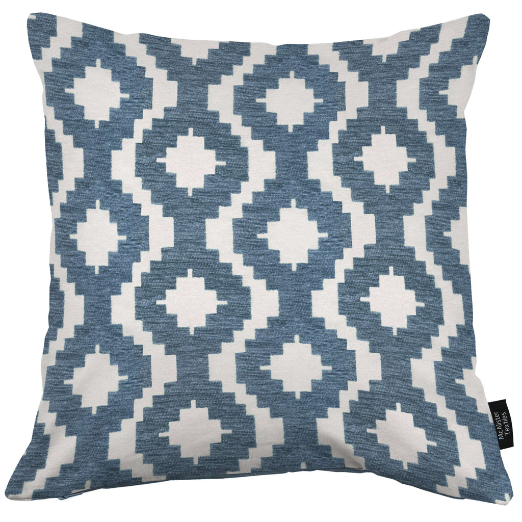 McAlister Textiles Arizona Geometric Wedgewood Blue Cushion Cushions and Covers Cover Only 43cm x 43cm