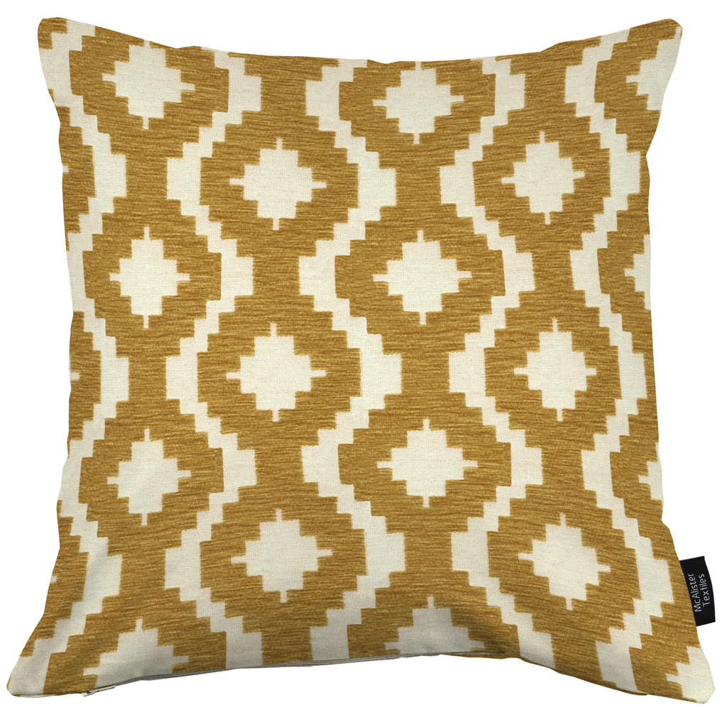 McAlister Textiles Arizona Geometric Mustard Yellow Cushion Cushions and Covers Cover Only 43cm x 43cm