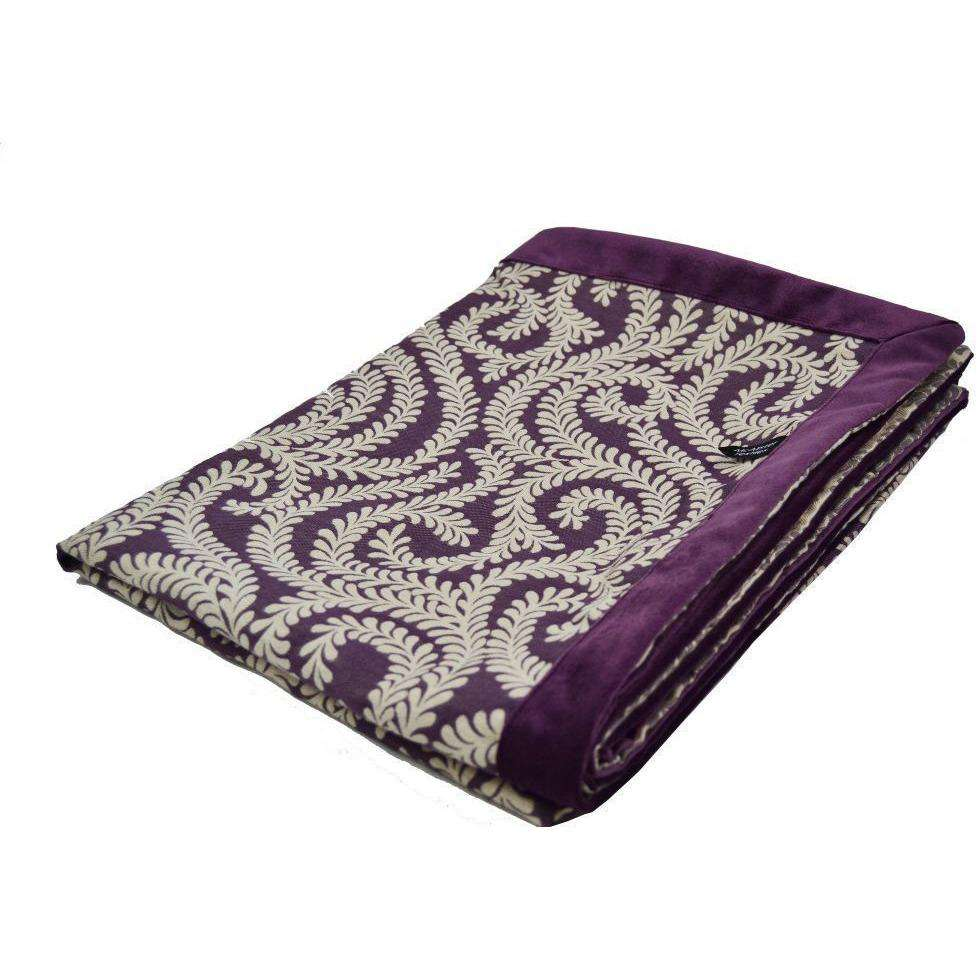 McAlister Textiles Little Leaf Aubergine Purple Throw Throws and Runners Regular (130cm x 200cm)