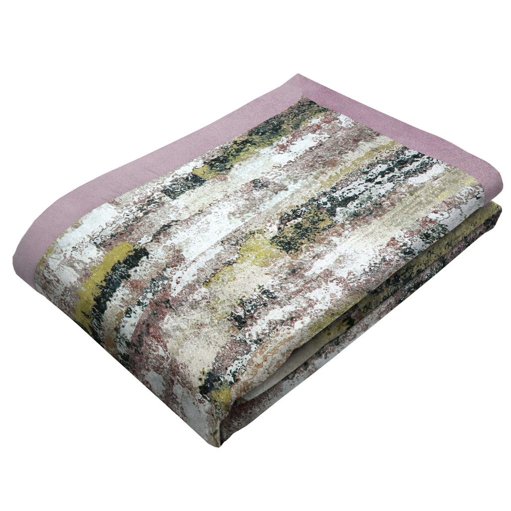 McAlister Textiles Aura Blush Pink Printed Velvet Throws & Runners Throws and Runners