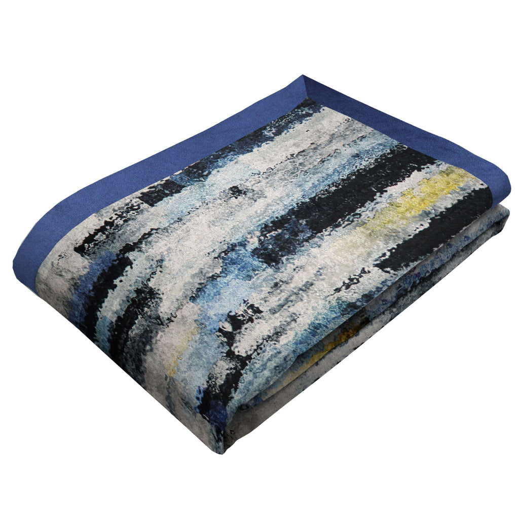 McAlister Textiles Aura Navy Blue Printed Velvet Throws & Runners Throws and Runners