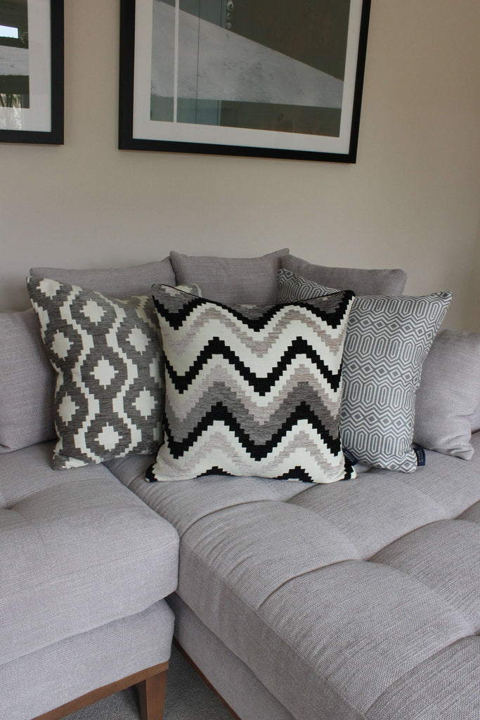 McAlister Textiles Arizona Geometric Charcoal Grey Cushion Cushions and Covers