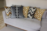Cargar imagen en el visor de la galería, McAlister Textiles Maya Striped Charcoal Grey Velvet Cushion Cushions and Covers