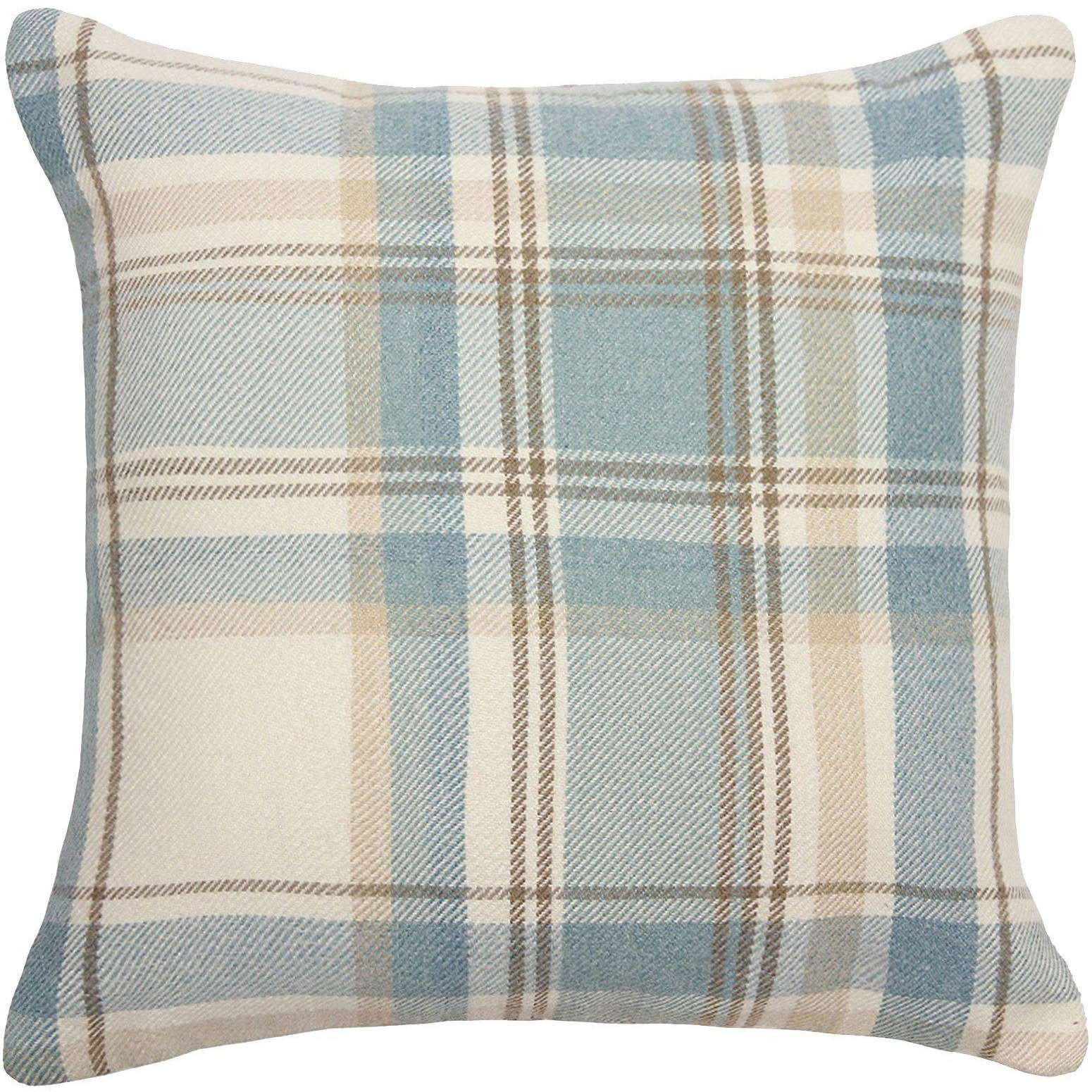McAlister Textiles Heritage Duck Egg Blue Tartan Cushion Cushions and Covers Cover Only 43cm x 43cm