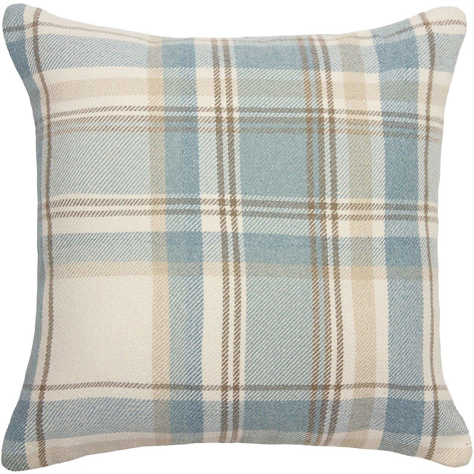 McAlister Textiles Heritage Duck Egg Blue Tartan Pillow Pillow Cover Only 43cm x 43cm