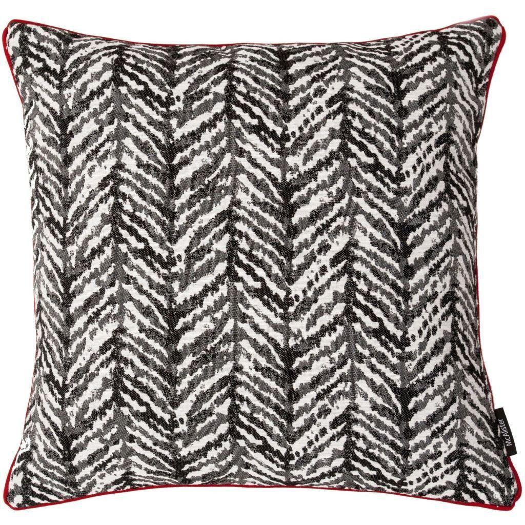 McAlister Textiles Baja Black + White Abstract Cushion Cushions and Covers Polyester Filler 43cm x 43cm