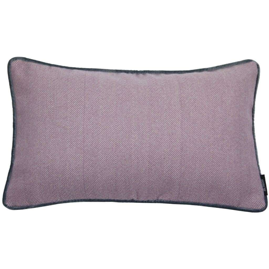 McAlister Textiles Herringbone Boutique Purple + Grey Cushion Cushions and Covers Cover Only 50cm x 30cm