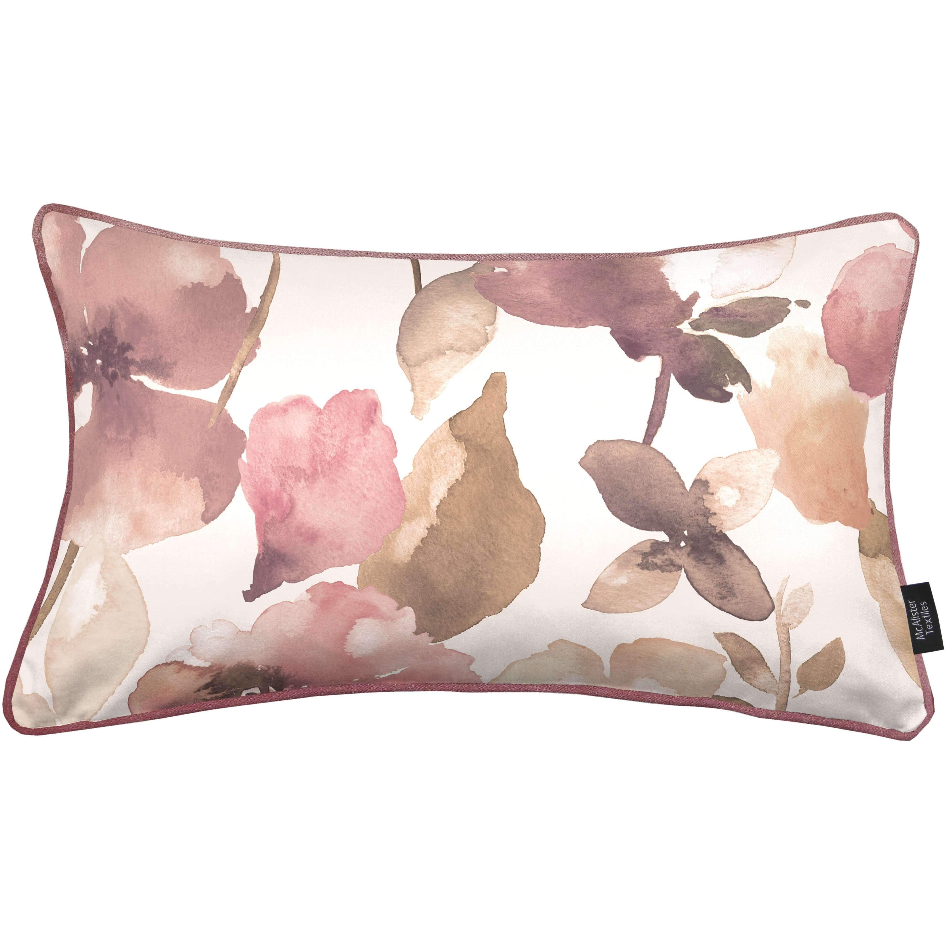 McAlister Textiles Blush Pink Floral Velvet Cushion Cushions and Covers Cover Only 50cm x 30cm