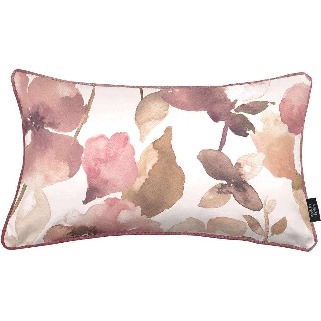 McAlister Textiles Blush Pink Floral Velvet Pillow Cover Cover Only 60cm x 40cm