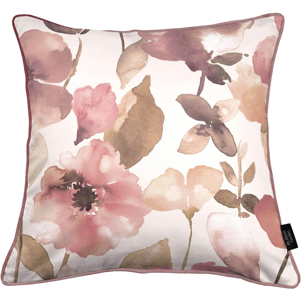 McAlister Textiles Blush Pink Floral Velvet Cushion Cushions and Covers Polyester Filler 43cm x 43cm