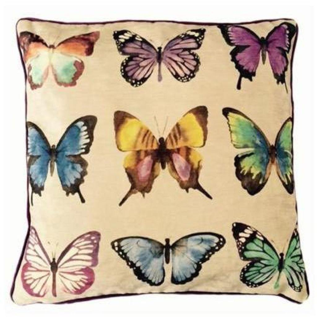 McAlister Textiles Novelty Butterfly Print Velvet Cushion Cushions and Covers Polyester Filler