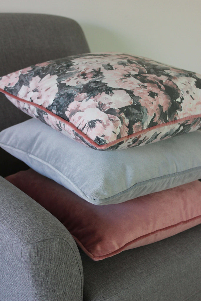 McAlister Textiles Matt Dove Grey Velvet Cushion Cushions and Covers