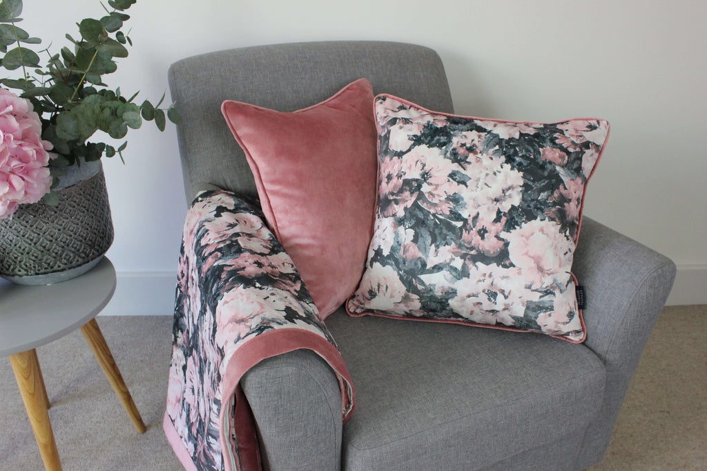 McAlister Textiles Camille Floral Velvet Cushion Cushions and Covers