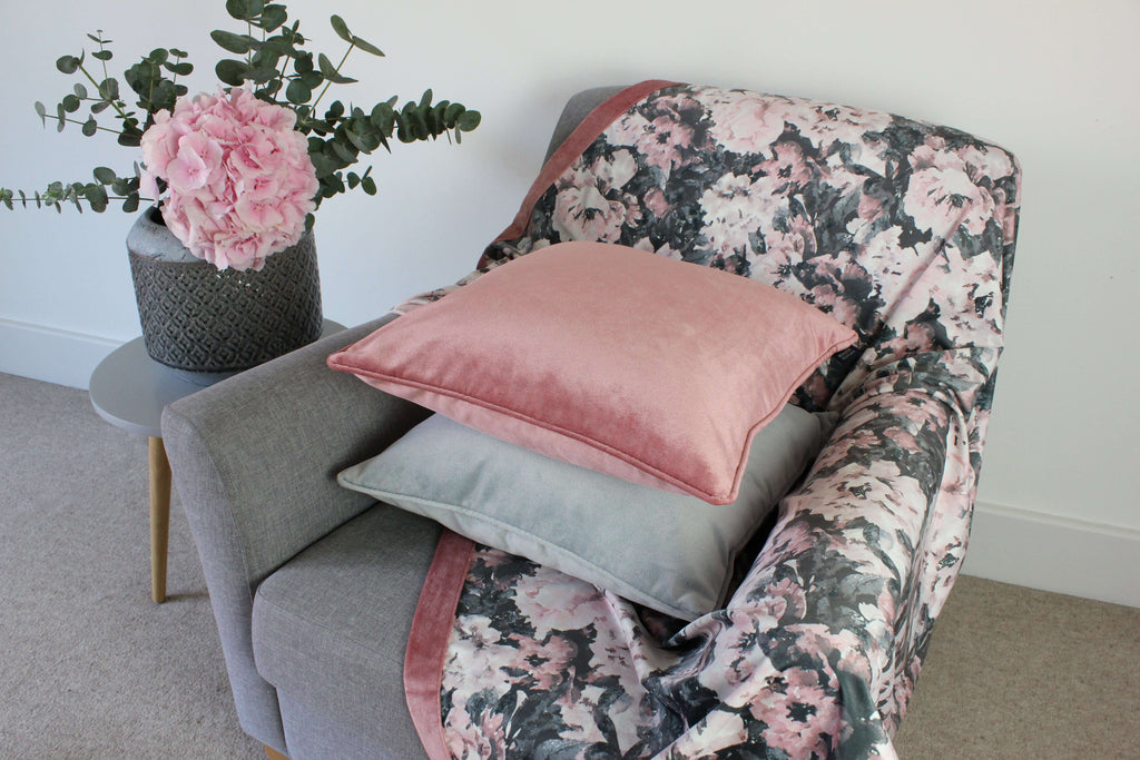 McAlister Textiles Camille Floral Velvet Throw Blankets & Runners Throws and Runners