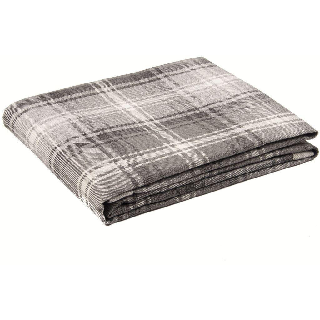 McAlister Textiles Angus Charcoal Grey Tartan Throw Throws and Runners Bed Runner (50cm x 240cm)