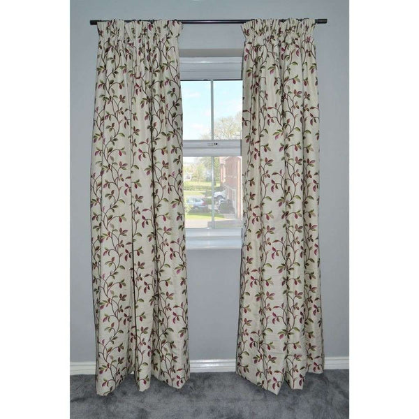 "McAlister Textiles Annabel Floral Cherry Red Curtains Tailored Curtains 116cm(w) x 137cm(d) (46"" x 54"")"