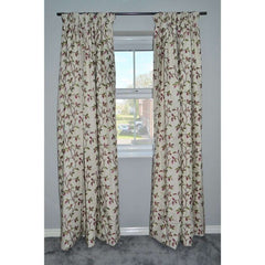 McAlister Textiles Annabel Vintage Floral Cherry Red Curtains-Tailored Curtains-