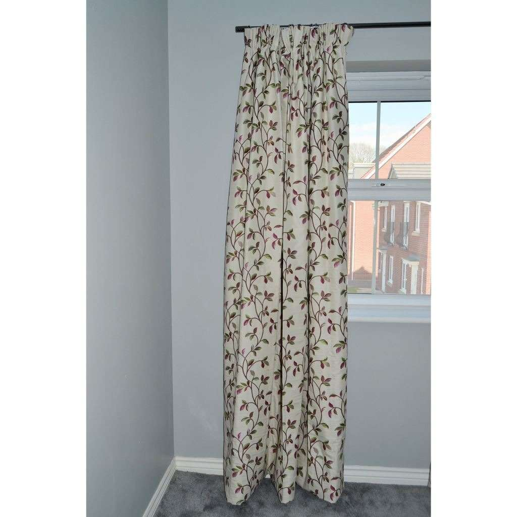 McAlister Textiles Annabel Floral Cherry Red Curtains Tailored Curtains