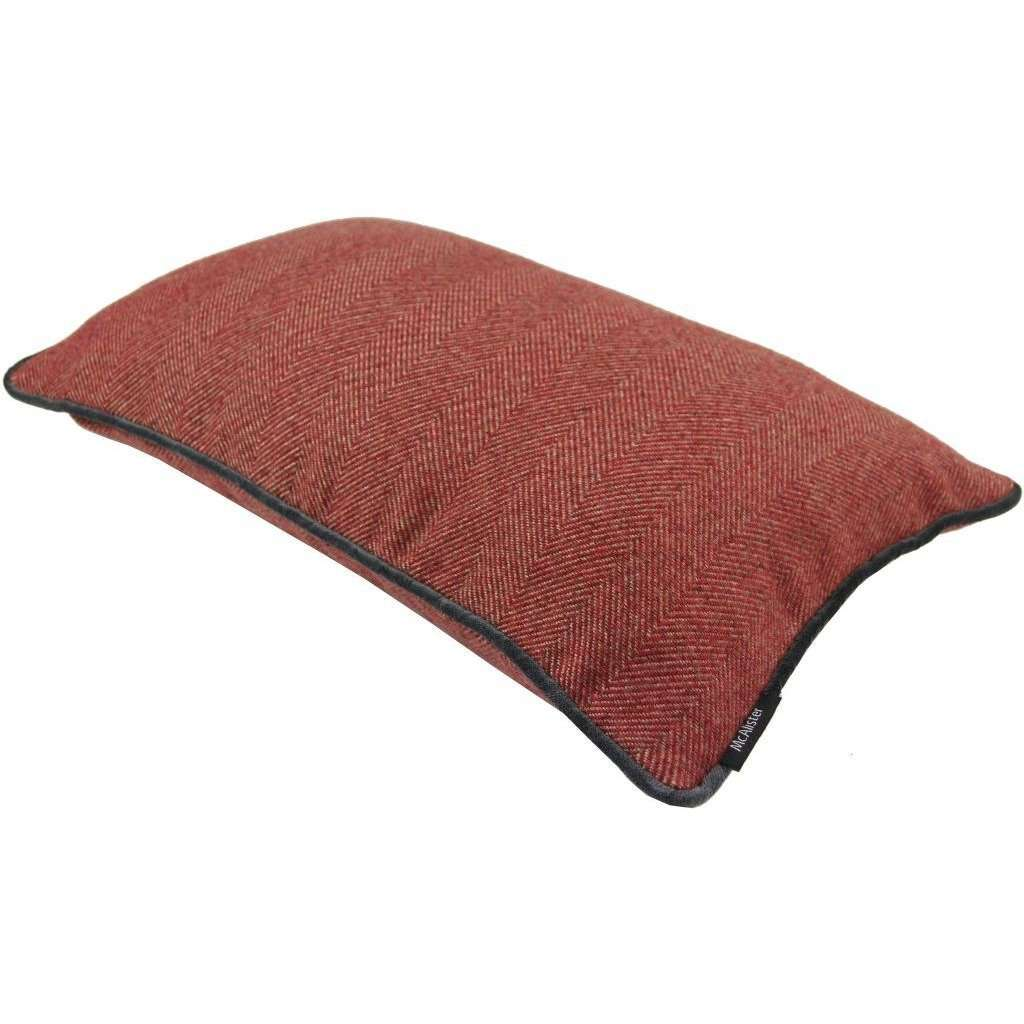 McAlister Textiles Herringbone Boutique Red + Grey Cushion Cushions and Covers