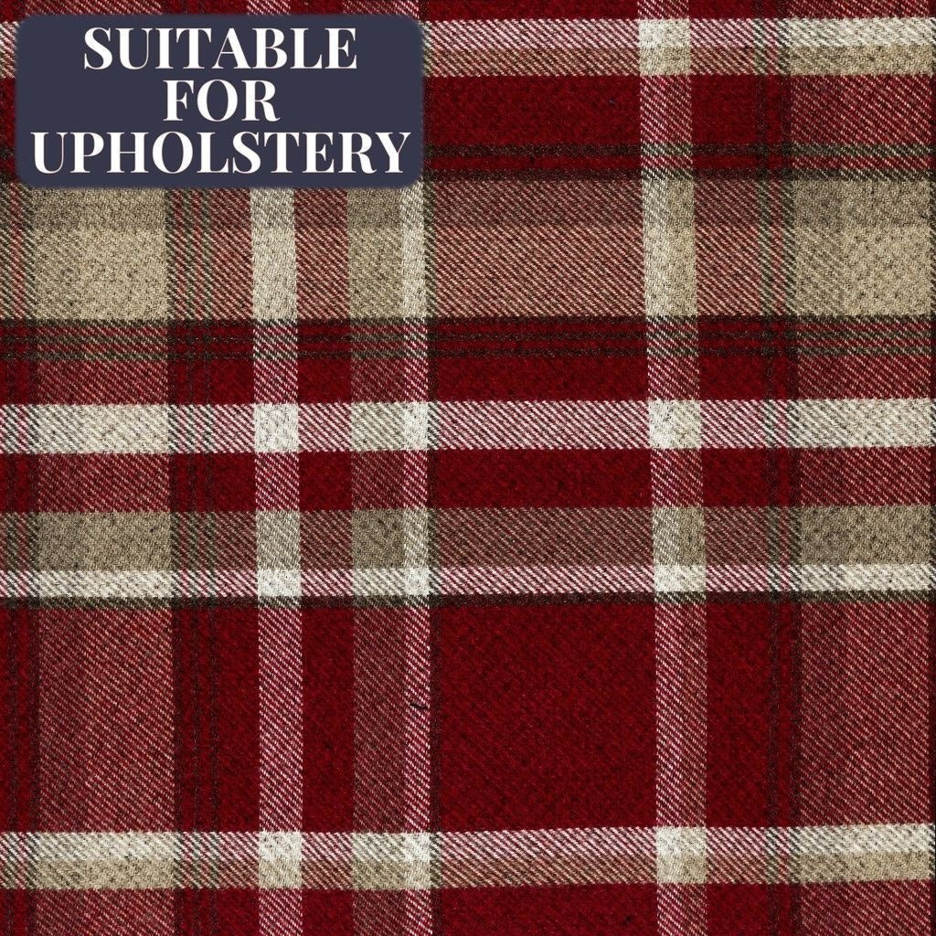 McAlister Textiles Heritage Tartan Red + White Fabric Sample Fabrics