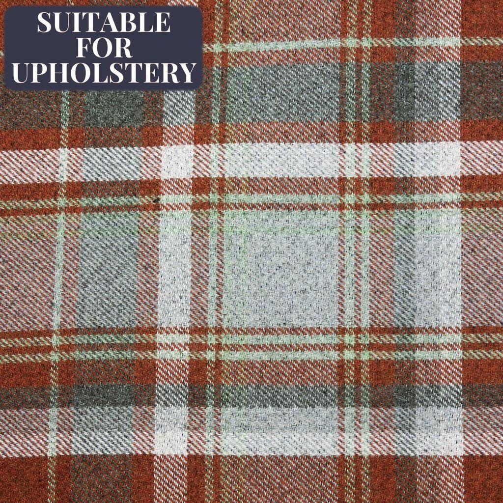 McAlister Textiles Heritage Tartan Burnt Orange + Grey Curtain Fabric Fabrics