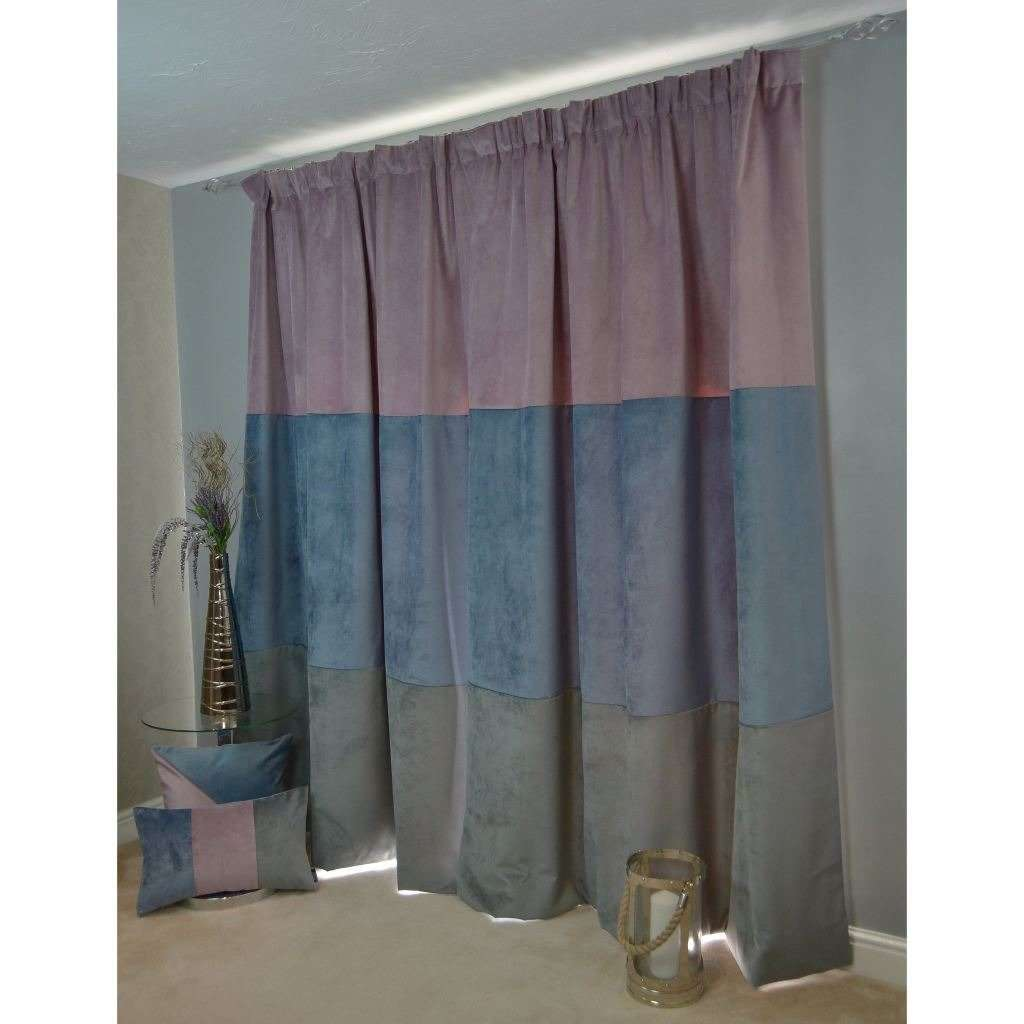 McAlister Textiles Patchwork Velvet Purple, Blue + Grey Curtains Tailored Curtains