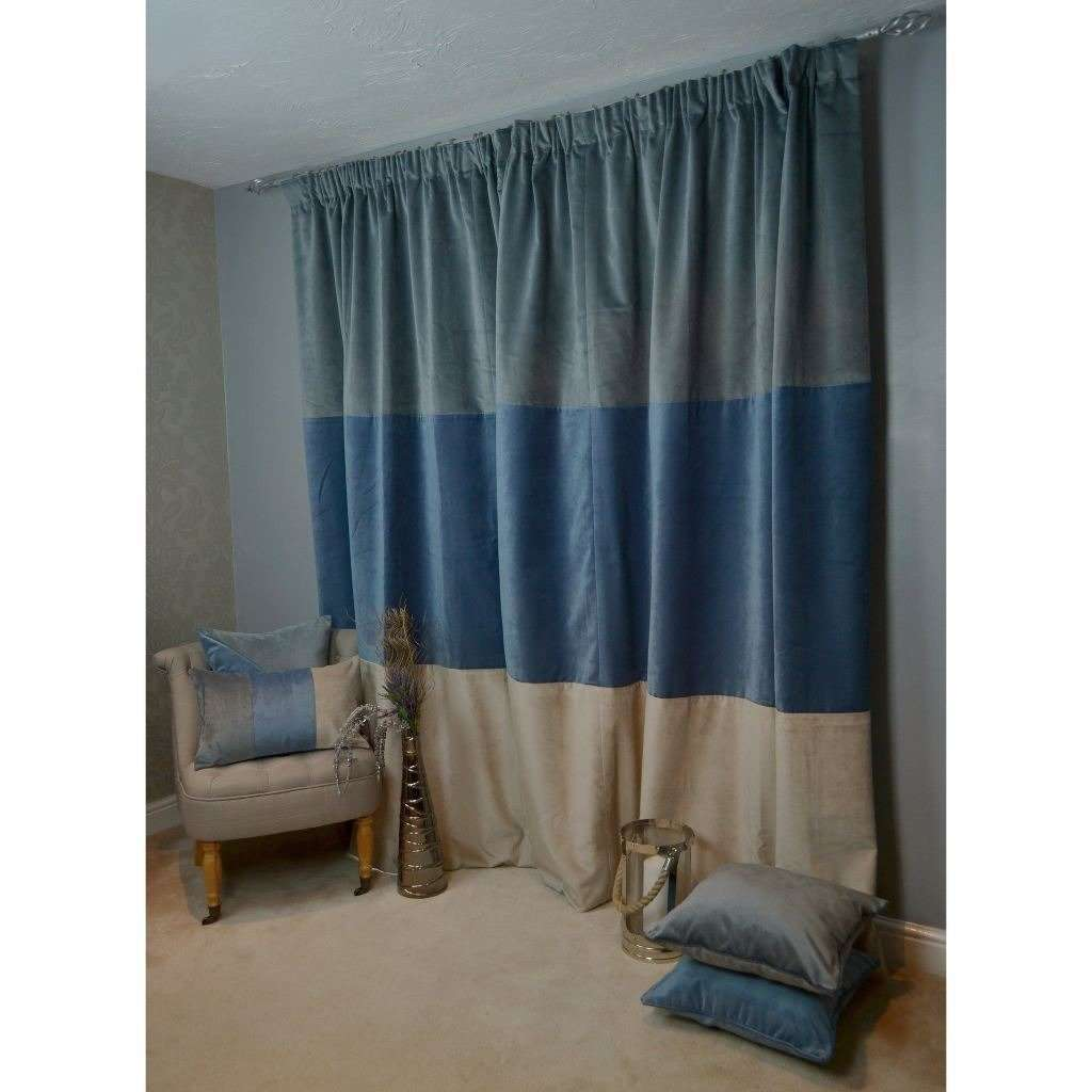 McAlister Textiles Patchwork Velvet Blue, Gold + Grey Curtains Tailored Curtains