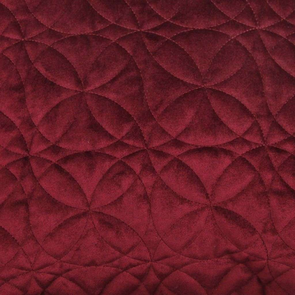 McAlister Textiles Round Quilted Wine Red Velvet Cushion Cushions and Covers