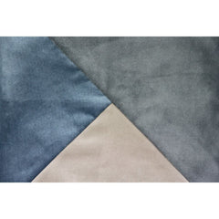 McAlister Textiles Diagonal Patchwork Grey, Petrol Blue & Champagne Gold Velvet Cushion-Cushions and Covers-
