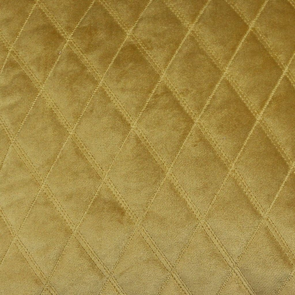McAlister Textiles Diamond Quilted Yellow Gold Velvet Pillow Pillow